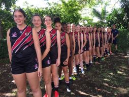 MGH Girl's AFL team line up for a great season